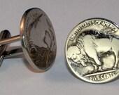 Vintage Buffalo Nickel Bison 5 Cents Coin Cufflinks