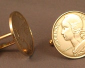 FRANCE Vintage 20 Centimes Coin LIBERTY Cufflinks