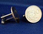 CAYMAN ISLANDS Green Sea Turtle 10 Cent Coin Cufflinks