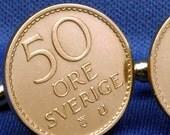 Sweden Sverige 50 Ore Vintage Coin Gustaf VI - Cufflinks