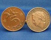 Holland 5 Cent Vintage 1948 Coin Wilhelmina - Cufflinks