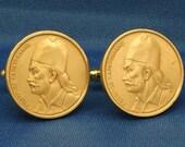 Greece Georgios Karaiskakis 2 Drachma Coin - Cufflinks