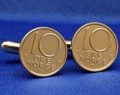 Norway (Norge) Vintage 10 ore Coin - New Cufflinks
