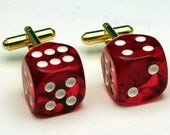 Red Dice Cufflinks 6-sided Las Vegas Lucky 7
