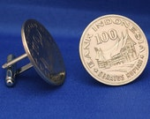 Indonesia Minangkabu House Vintage 100R Coin Cufflinks