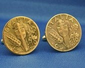 Italia WW2 Symbol Coin 10c Brass Italy - Cufflinks