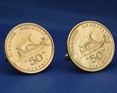 Homer's Greek Sailing Boat Coin Cufflinks - Greece 50d