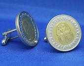 Egypt King Tutankhamun Coin Cufflinks - Egyptian Tut Mask One Pound
