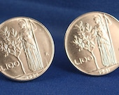 ITALY Vintage 100 Lire Olive Tree Coin Cufflinks