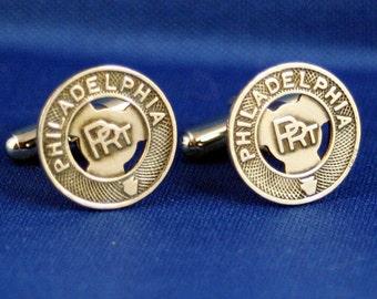 Philadelphia PRT Vintage Trolley Token WM New Cufflinks Hand Crafted