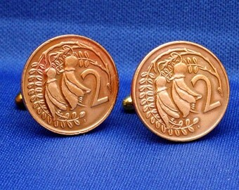 New Zealand Vintage 2 Cent Coin Kowhai Flowers Cufflinks