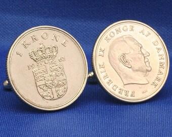 DENMARK 1 Krone Coin Vintage Frederik IX New Cufflinks