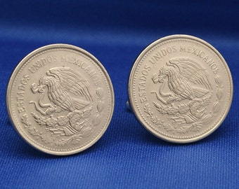 1980s MEXICO Coat of Arms 1p Coin Eagle Cactus CUFFLINKS
