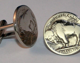 Vintage Buffalo Nickel Bison 5 Cents USA Coin Cufflinks