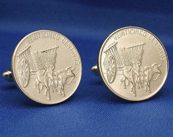 Oxcart Coin Cufflinks - Dominican Republic 25c