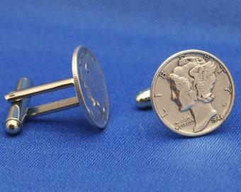 Sale... Silver Mercury Dime Cufflinks - American Coin