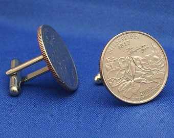 Mississippi Magnolia Flower 2002 Quarter 25c USA Coin - New Cufflinks