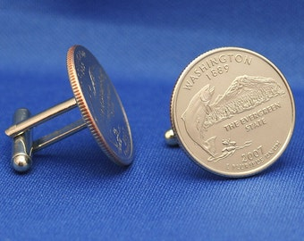 Washington Evergreen State 2007 Quarter 25c USA Coin - New Cufflinks