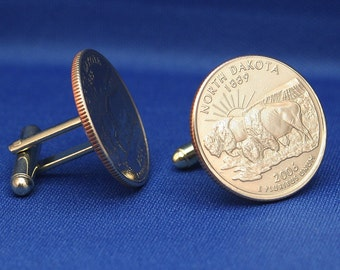 North Dakota Bison 2006 Quarter 25c USA Coin - New Cufflinks