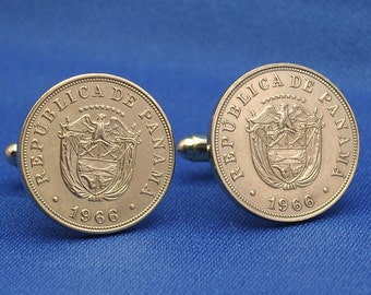 Panama 1966 Coat of Arms 5c Coin Cufflinks