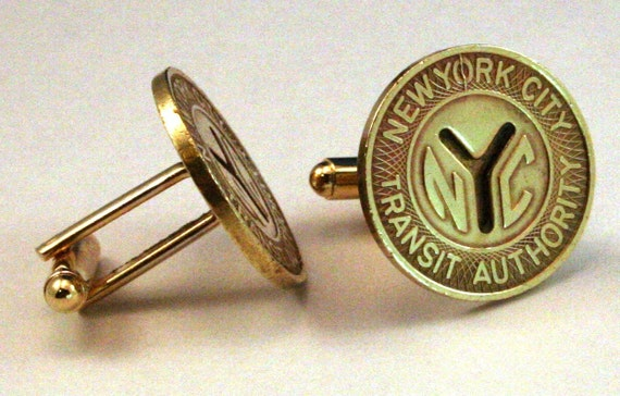 NYC Cufflinks New York Large Y Cutout Subway Token