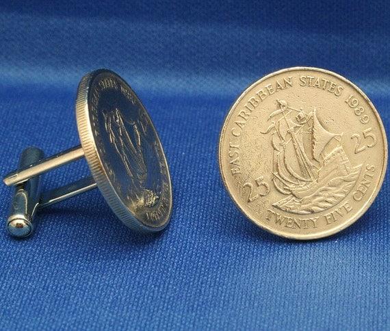 East Caribbean 25 Cents Coin Galleon Ship -  Cufflinks