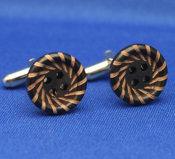 Carved Rays Wood Button Cufflinks
