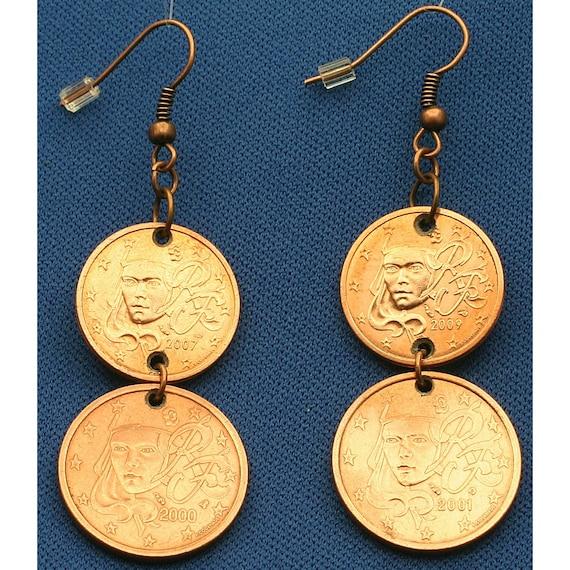 French Dange Earrings France Euro Coins