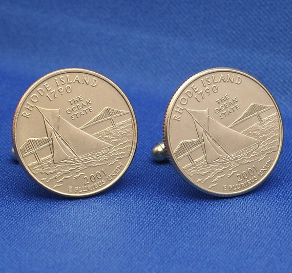 Rhode Island Ocean State 2001 Quarter 25c USA Coin - New Cufflinks