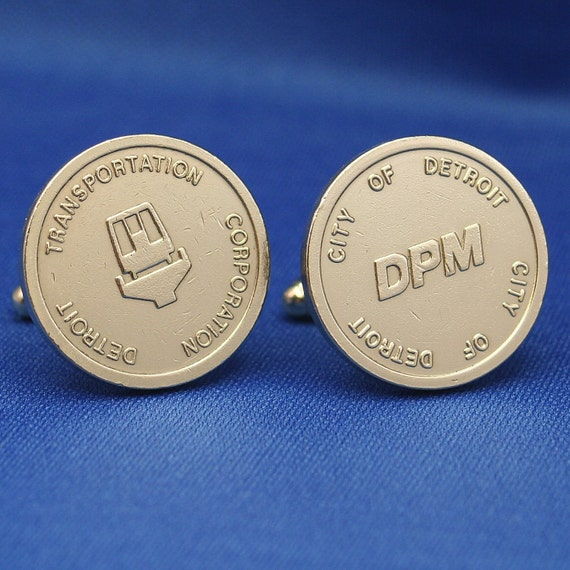 Cufflinks - Detroit People Mover DPM Transit Fare Token