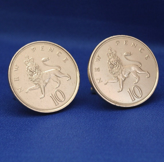 Great Britain Crowned Lion 10 New Pence Coin Cufflinks - England UK British