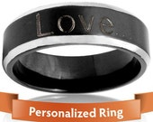 Personalized Jewelry - Personalized Ring - Stylish Stainless Steel Black and Silver Ring - Your Gift for him