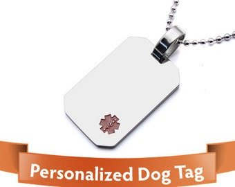 Personalized Jewelry - Medical Alert - Stylish alert dog tags Personalized stainless steel - Important For Your Safety