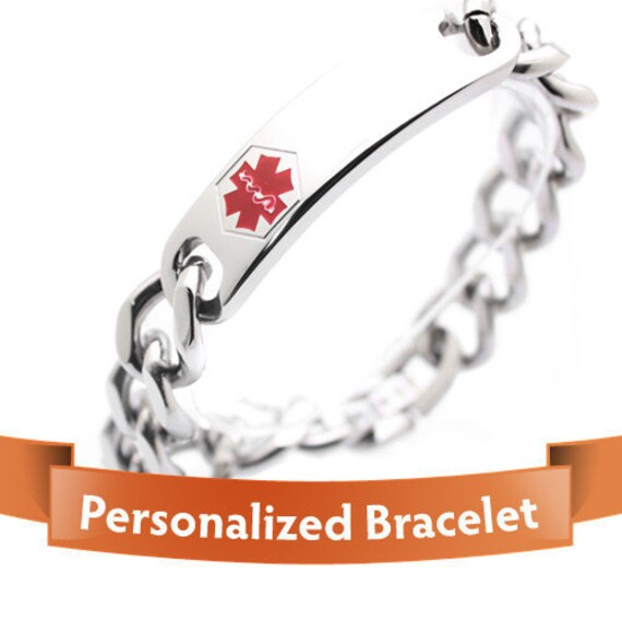 Personalized Jewelry - Medical Alert Bracelet - Stylish Personalized Silver Color Medical ID Bracelet - Important For Your Safety