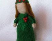 Needle felted Holly Flower Fairy