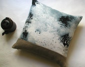 "Linen Mini Squart Throw Pillow 14""x14"" .. L u n e  / FRAGMENTS"