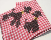 Vintage Kitschy Poodles Hand Embroidered Red and White Gingham Check Bridge Hemstitched Tablecloth