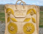 Mexican Woven Straw Beach Tote Bag Carryall in Natural with Mustard Yellow Flowers and Leaves