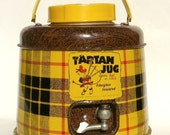 Plaid Picnic Beverage Cooler with Spout Tartan Jug by Poloron in Yellow, Red, and Black with Brown Faux Bois Mid Century Camping Equipment