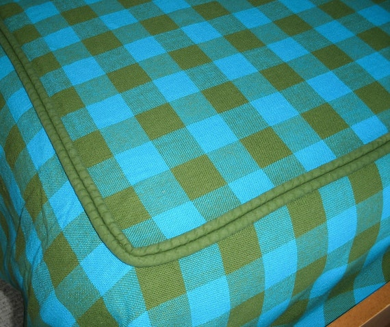 Set of TWO Fabulous Retro Avocado Green and Turquoise Buffalo Plaid Gingham Check Twin Bedspreads