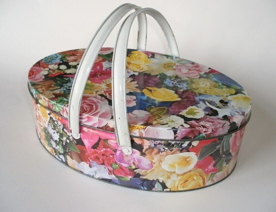 RESERVED Vintage Floral Oval Shaped Biscuit Tin with Handles
