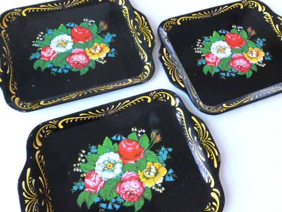 Black Floral Metal Snack Trays or Tip Trays Lot Roses and Scroll Lithograph Design Set of Three Mid Century Barware