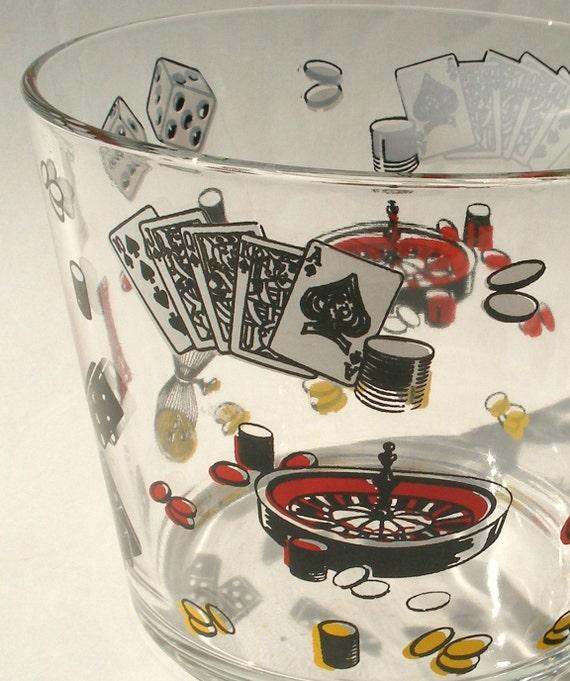 Glass Ice Bucket Las Vegas Poker Casino Roulette Chess Dominoes Dice Gambling Party Theme Snack Bowl Mid Century Mod Barware