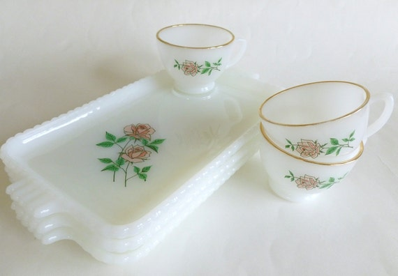 Anchor Hocking Anniversary Rose Snack Sets White Milk Glass with Gold Rims Set of Three Dishes and Tea Cups