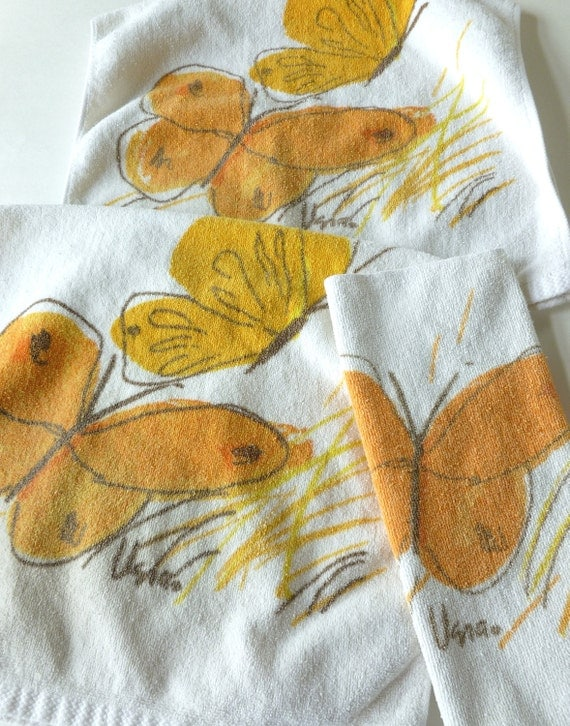 Vera Butterfly Bath Towels in Orange, Yellow, Brown and White Summer Boho Natural History Print by Designer Vera Neumann for Burlington