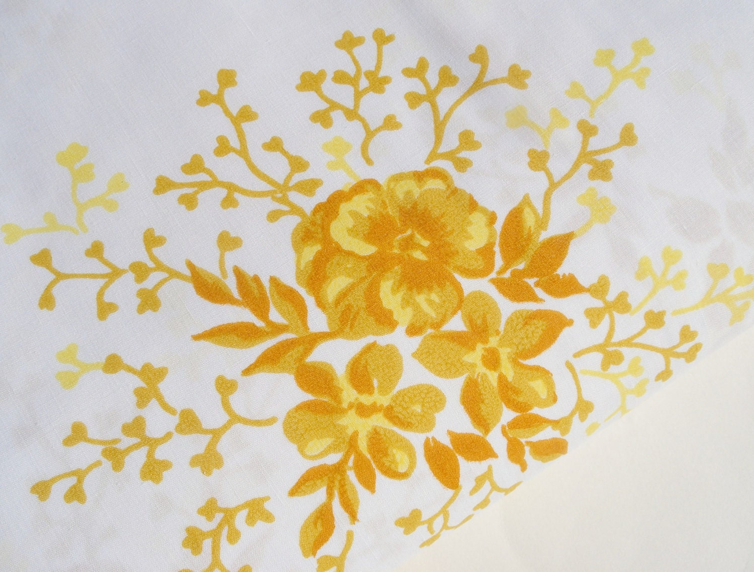 Vintage Floral King Fitted Sheet Yellow By Bornatthewrongtime