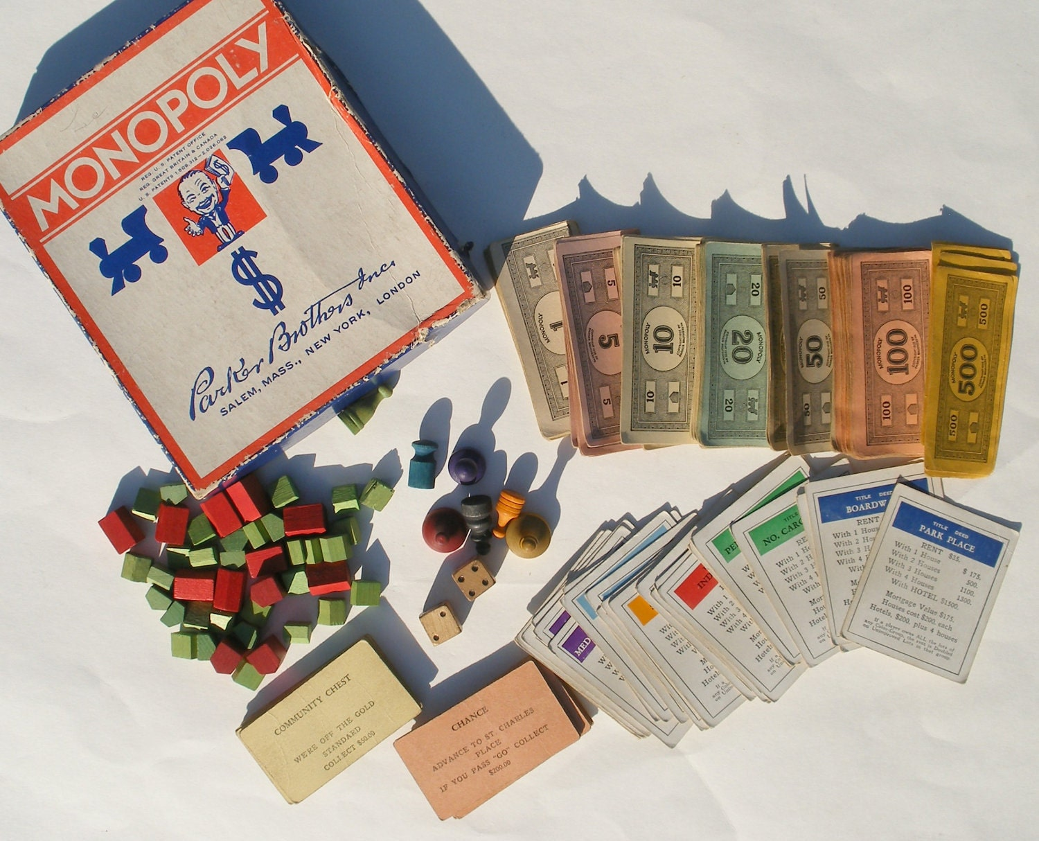 Monopoly Game Pieces Lot 1935 Pretend Money By