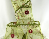 4 Pair Lamp Shades Small Square Embroidered Green Beaded Fringe