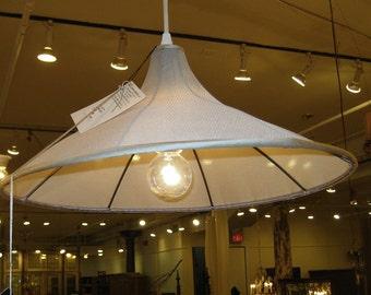 Chandelier Pendant Grey Silk Mesh Handmade Custom Light Fixture