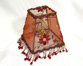 Lamp Shad Small Square Embroidered Red Copper Beaded Fringe